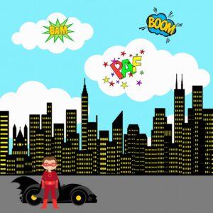 superhero background, city, sky
